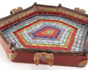 Hand Built Stoneware Pottery Glass Mosaic Vanity Tray Leaf Leaves OOAK Burgundy Red Blue Green Gold