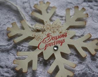 Handmade Vintage Style Christmas Gift Tags - Snowflake Gift Tag