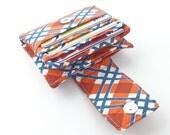 plaid women wallet. coin card organizer. orange navy fabric billfold. cute cash wallet. cardholder coin purse ladies cardcase