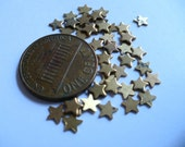Vintage Solid Brass Stars, 1960s Teeny, Tiny Unplated Jewelry Findings, Altered Art Supply or Embellishments, 25 pcs. (C2)