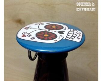 Colorful Sugar Skulls Keychain bottle openers