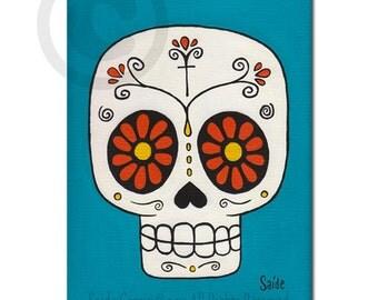 Day of the Dead Orange Eyes skull Print 5x7 calavera