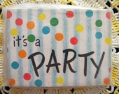 Vintage Package of Party Invitations Stripes and Polka Dots