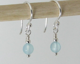 Very Tiny Aqua Chalcedony and Sterling Silver Earrings