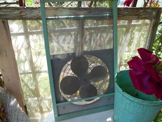 1930s vintage window screen electric fan jadeite jadite green for Marvin screens