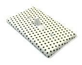 Tiny Black and White Polka Dots Light Switch Cover Rockabilly Style Bedroom Decor Switchplate Switch Plate 1388A