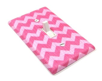 Pink Chevron Light Switch Cover Chevron Nursery Decor Girls Bedroom Switchplate Switch Plate 1401A