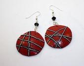 Red Domed Earrings w/black stripes