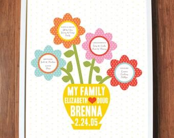 Family tree print with flower pot, CUSTOM, LARGE