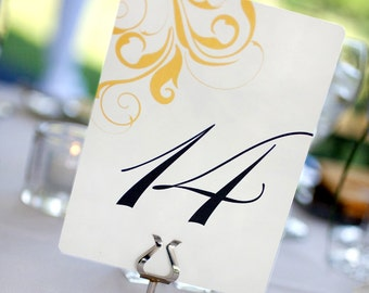 Classic Wedding Table Numbers - Flourish design - custom color - SET OF 10