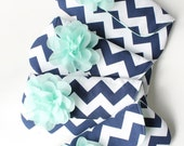 Chevron Bridesmaid Clutches, Set of 8 Navy and Mint Bridal Party Bags, Personalized Wedding Clutch Purse, More Colors