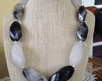 Black and White Quartz Beaded Necklace