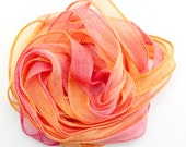 SowZerE -  NEW - Raspberry and Orange Cooler  - handmade hand dyed silk chiffon ribbons  for jewellery and craft.