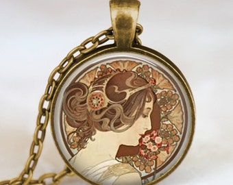 Alphonse mucha necklace, Art Nouveau necklace , alphonse mucha art pendant with chain and gift bag