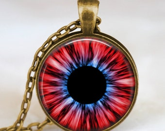 Evil eye necklace, third eye necklace, red eye pendant , human iris eye jewelry antique bronze with gift bag