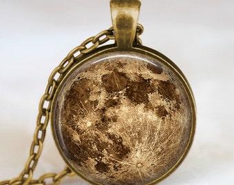 Harvest moon necklace, full moon necklace, moon pendant, lunar pendant, moon jewelry , space pendant