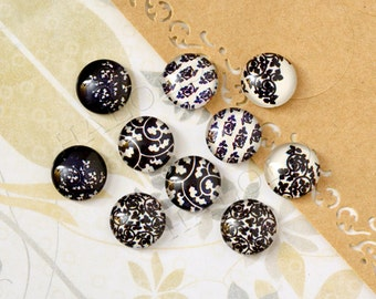 10pcs handmade assorted deep color round clear glass dome cabochons 12mm (12-0841)