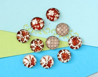 10pcs assorted brown flower round clear glass dome cabochons 12mm (12-0853)
