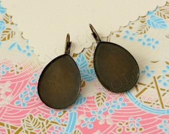 10pcs antique bronze earwires hook with water drop teardrop base setting 25x18mm (0278)