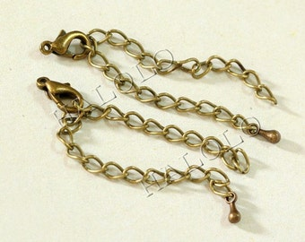 10 pcs handmade antique bronze finish extension chain with lobster clasps and water drop end  CH69