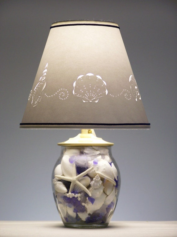 Items Similar To Blue And White Seashell Lamp On Etsy