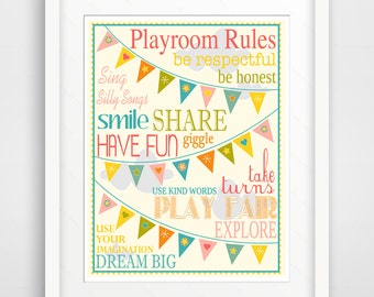 Kids Wall Art / Nursery Decor Playroom Rules withh Bunting ... print by Finny and Zook
