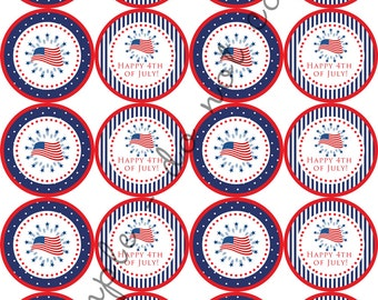 "INSTANT DOWNLOAD / 4th of July American Flag 2"" printable Party Circles / Cupcake Topper / Stickers / Thank You Tags"