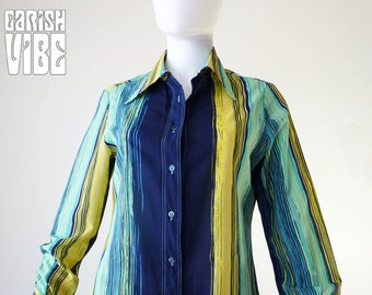 Vintage Vera Blouse | 70s AQUA BLISS Striped Cool Tone Career Tailored Shirt Top Vera Neumann 1970s