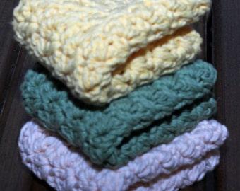 Bright Spring Cotton Crochet Dishcloths - Set of 3