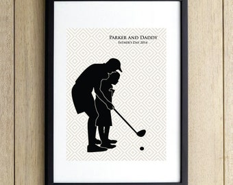 Father and Son Playing Golf, Custom Silhouette Print, Father's Day Gift, Gift for Dad by Le Papier Studio