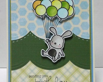 Happy Birthday Bunny Card - blank