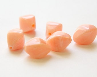Vintage Peach and White Bicone Acrylic Beads LG (6) bds1003F