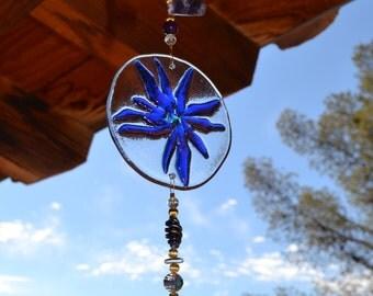 Suncatcher Glass Flower Petals Blue Purple with Bell