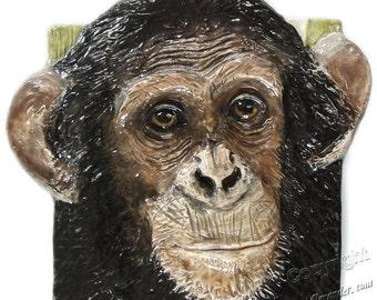 Chimpanzee sculpture Portrait Ceramic 3-d Tile Alexander Art IN Stock