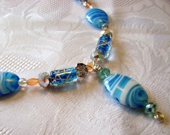 Ocean Waves blue white beaded necklace