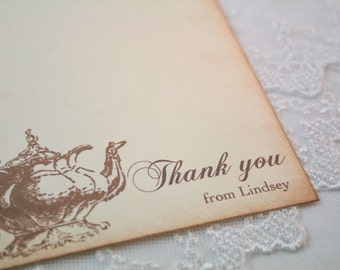 Tea Party Thank You Cards Personalized Stationery Set Vintage Teapot Wedding Baby Shower