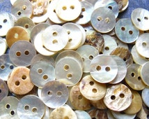 Mother of Pearl Buttons - Set of 70 - 9mm Creamy White Pearl Buttons (PB0024)