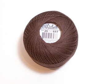 Lizbeth Cotton Tatting Thread Dark Fudge Brown Color number 697, Brown Crochet Thread, Choose a Size 10, 20, 40, 80
