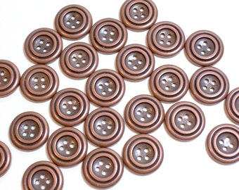 Bronze Buttons, Bronzetone Metal Coated Plastic Core Buttons 3/4 inch diameter x 25 pieces, 4 Hole Buttons