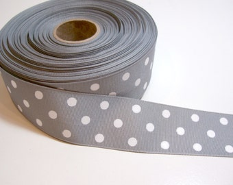 Light Gray and White Polka Dot Grosgrain Ribbon 1 1/2 inches wide x 10 yards, SECOND QUALITY FLAWED