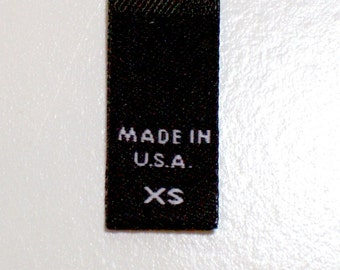 Size Tags, Sew in Garment Tags, Black XS Made in USA, Set of 20, Extra Small Tags