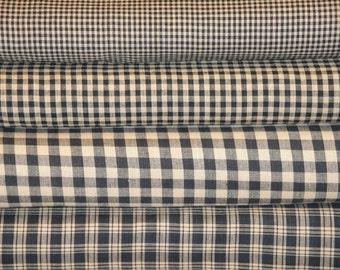 Black Homespun Fabric Fat Quarter Bundle Of 4