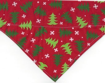 Christmas in July!! Large Dog-Scarf /Bandana-Christmas /Red w/green trees!