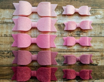 Wool Felt Bows - Pink Ombre - Set of 10 or Set of 20