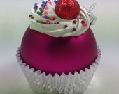 Cupcake Ornament - Matte Raspberry