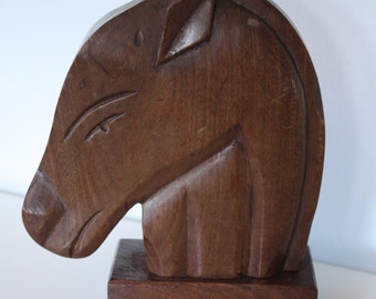 Vintage Horse Sculpture or Bookend ~ Solid Wood ~ Hand Carved ~ Study ~ Library ~ Office