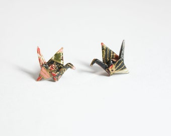 Little Crane Pink & Grey Origami Sterling Silver Post / Stud Earring