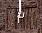 Sterling Silver Wire Wrapped Initial Pendant and Necklace - Letter P