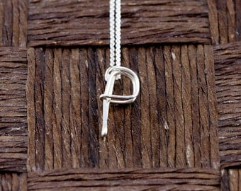 Sterling Silver Wire Wrapped Initial Pendant and Necklace in The Letter P