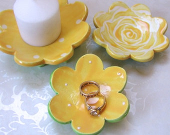 yellow rose ceramic Dish Set of 3 ceramic dishes :) pottery ring dish, soap dish, candleholder